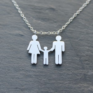Family necklace with one little boy