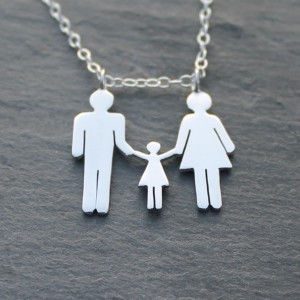 Silver family necklace with a little girl
