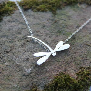 Silver mayfly necklace